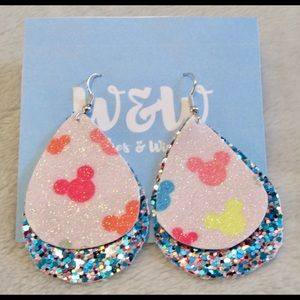 NWT Glitter Mickey Mouse Faux Leather Earrings